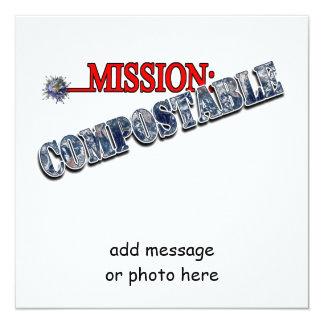 Misión: (3) ABONABLE Invitación 13,3 Cm X 13,3cm