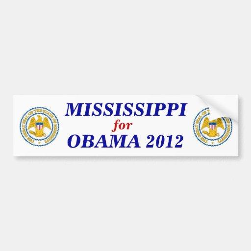 MISSISSIPPI para el pegatina 2012 de Obama Pegatina De Parachoque