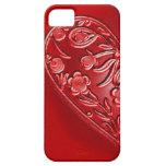 Mitad-Corazón floral del Grunge rojo iPhone 5 Case-Mate Fundas