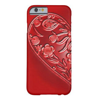 Mitad-Corazón floral del Grunge rojo Funda De iPhone 6 Barely There