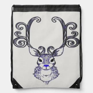 Mochila Bolso de lazo azul de los ciervos del reno de la