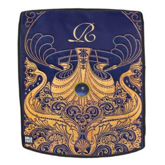 Mochila Buque antiguo, delfínes, oro, monograma de los