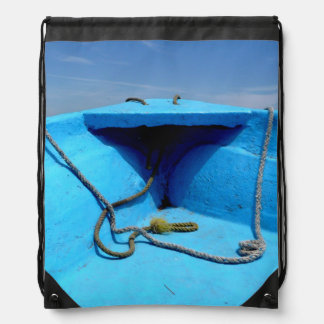 Mochila Canoa azul con la cuerda