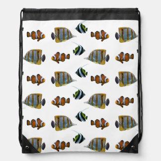 Mochila Con Cordones Bolso tropical del frenesí de los pescados (elija