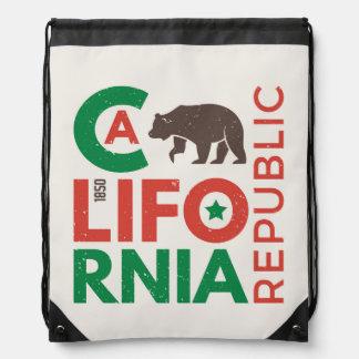 Mochila Con Cordones California con el logotipo del oso grizzly