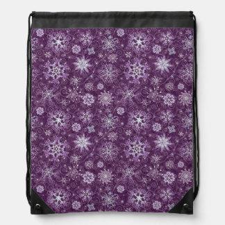 Mochila Con Cordones Copos de nieve púrpuras para el dolor crónico