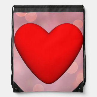 Mochila Con Cordones Corazón rojo - 3D rinden