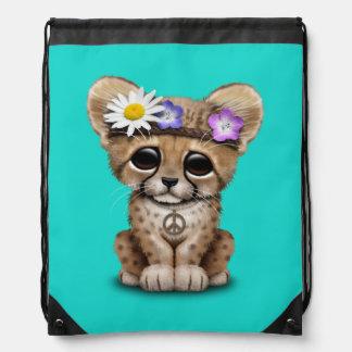 Mochila Con Cordones Hippie lindo de Cub del guepardo