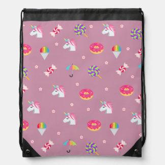 Mochila Con Cordones lollipops rosados lindos de las flores de los