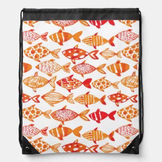 Mochila Con Cordones Modelo anaranjado brillante de los pescados de la