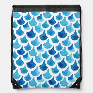 Mochila Con Cordones Modelo azul de la escala de la acuarela