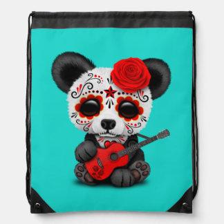 Mochila Con Cordones Panda roja del cráneo del azúcar que toca la