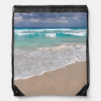 Mochila Con Cordones Playa tropical y playa de Sandy