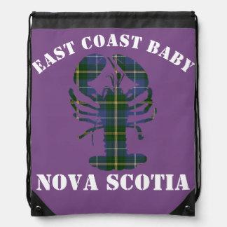 Mochila Con Cordones Púrpura del tartán de la langosta de Nueva Escocia