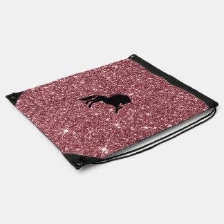 Mochila Con Cordones rosa chispeante del unicornio
