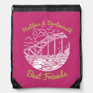 Mochila Con Cordones Rosa del bolso de lazo de los mejores amigos de