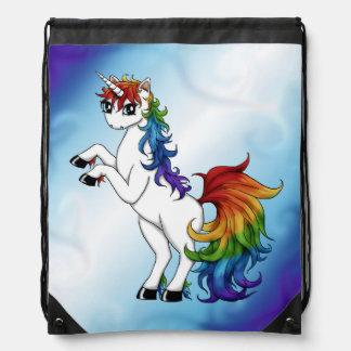 Mochila Con Cordones Unicornio del arco iris