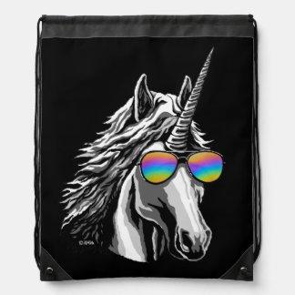 Mochila Con Cordones Unicornio fresco con las gafas de sol del arco
