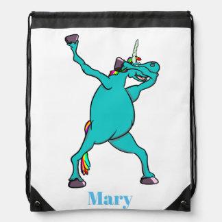 Mochila Con Cordones Unicornio que frota azul lindo