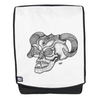 Mochila Diseño blanco y negro de la cabeza del diablo del