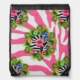 Mochila Hibisco tropical y rayas rosadas exóticas de la