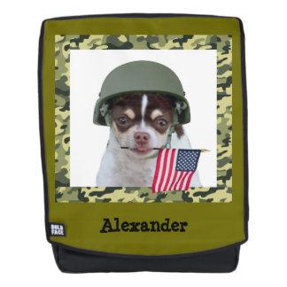Mochila negrita del perro militar de la chihuahua
