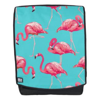 Mochila Pájaros rosados del flamenco en fondo de la