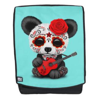 Mochila Panda roja del cráneo del azúcar que toca la