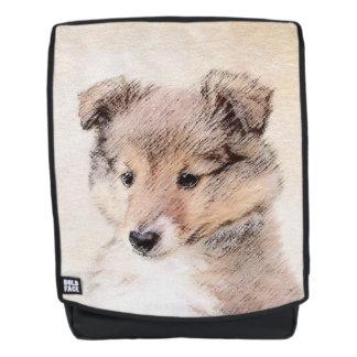 Mochila Perrito del perro pastor de Shetland que pinta