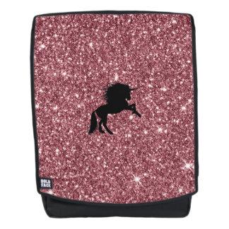 Mochila rosa chispeante del unicornio