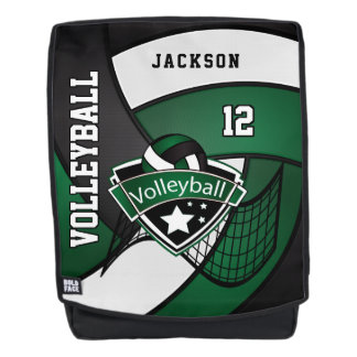 Mochila Voleibol en verde oscuro, blanco y negro