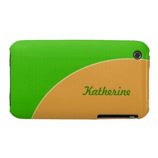 MOD brillante del amarillo de la verde lima retra iPhone 3 Carcasa
