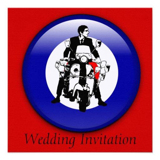 MOD de los años 60 en invitaciones de la blanco 3d Invitaciones Personalizada