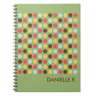 Mod dots pattern orange green personalized journal notebooks