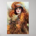 Moda bonita de los años 20 de la mujer posters