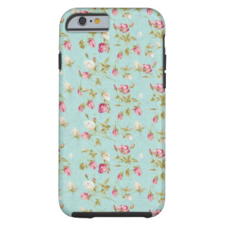 Moda color de rosa lamentable azul de los rosas funda para iPhone 6 tough
