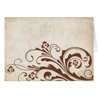 Moda de Brown del vintage floral Tarjeta