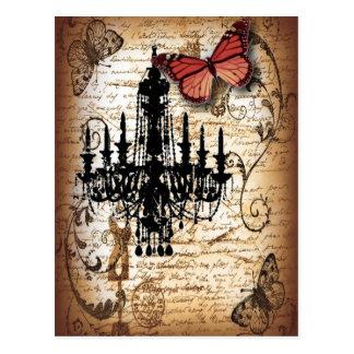 moda de la mariposa de la lámpara del vintage del postal