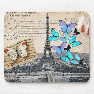 moda de la mariposa de la torre de París Effiel Alfombrilla De Ratón