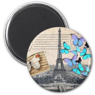 moda de la mariposa de la torre de París Effiel de Imán Redondo 5 Cm