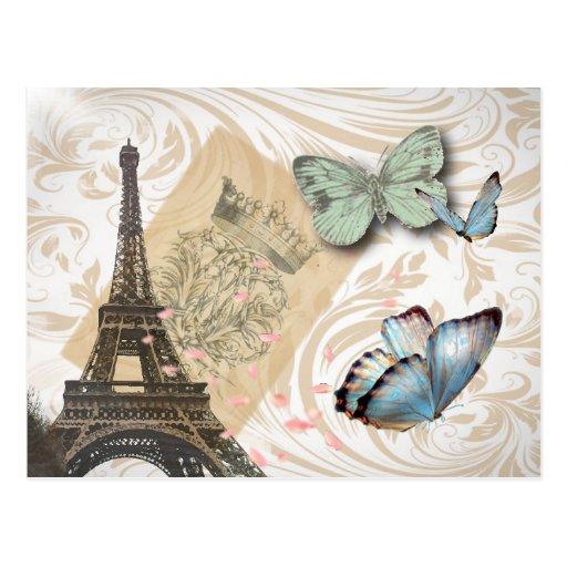 Moda de la mariposa de la torre de París Effiel de Postal