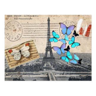 moda de la mariposa de la torre de París Effiel Postal