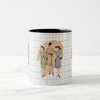 Moda de los años 40 del vintage taza de dos tonos