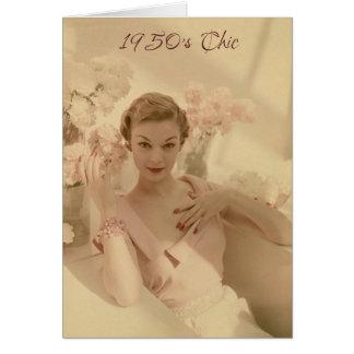 moda de los años 50 y aún tarjeta de cumpleaños fa