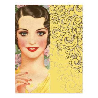 Moda de París del chica de Gatsby del art déco Postal