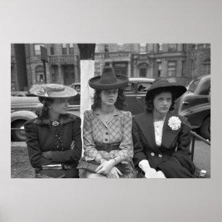 moda del gorra de Chicago de los años 40 Póster