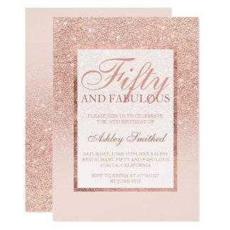 Moda elegante cincuenta del falso brillo color de invitación 12,7 x 17,8 cm