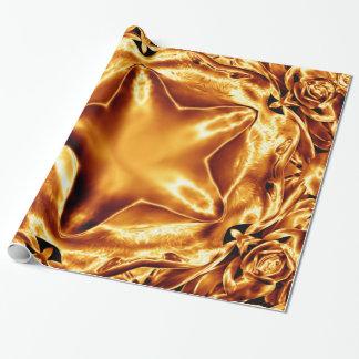 Moda elegante de la estrella del navidad del cobre papel de regalo