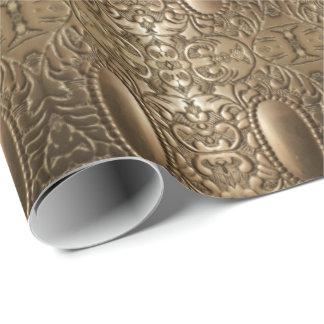 Moda elegante de plata antigua metálica decorativa papel de regalo