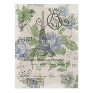 Moda elegante floral femenina de París del vintage Postales